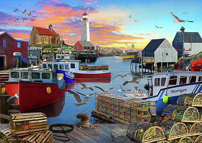 Poster featuring the drawing Uk Boat Cove by David M ( Maclean )