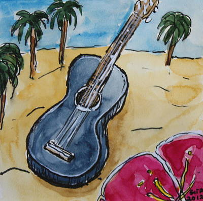 Ukulele At The Beach Poster