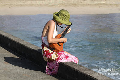 Ukulele Lady At Hanalei Bay Poster by Catherine Sherman