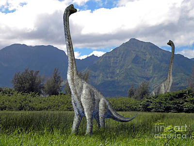 Ultrasaurus In Meadow Poster by Frank Wilson