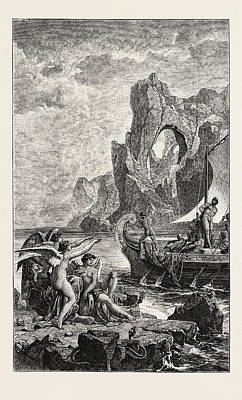Ulysses And The Sirens Poster by English School