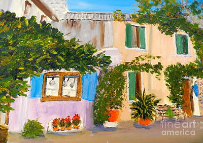 Poster featuring the painting Umbera Courtyard by Pamela  Meredith