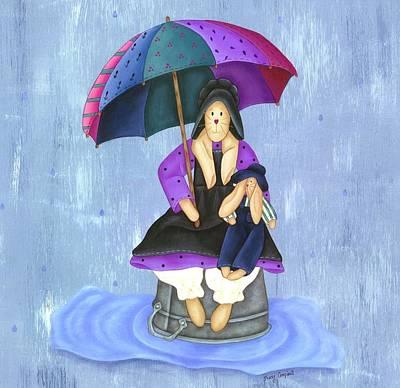 Umbrella Bunny Poster