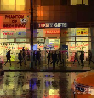 Umbrella Parade - New York In The Rain Poster by Miriam Danar