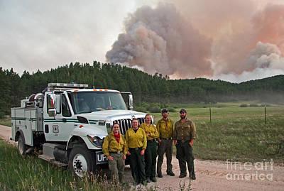 Umpqua Engine 25 On Myrtle Fire Poster by Bill Gabbert