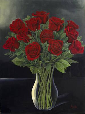 Una Dozzina Di Fallimenti - A Dozen Roses In Vase Poster by Aaron Acker