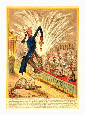 Uncorking Old Sherry, William Pitt Stands In The House Poster by English School