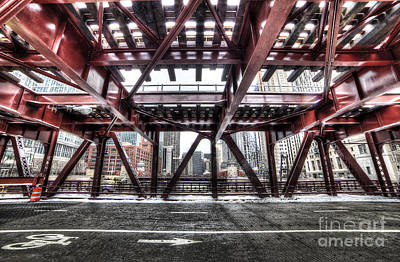 Under A Bridge In Chciago Poster by Twenty Two North Photography