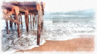 Under The Boardwalk Watercolor Poster