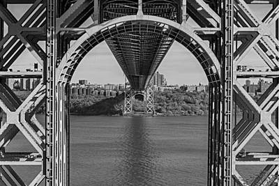 Under The George Washington Bridge Bw Poster