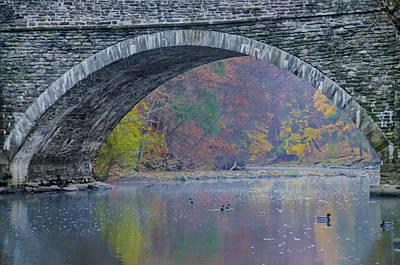 Under Valley Green Bridge In Autumn Poster
