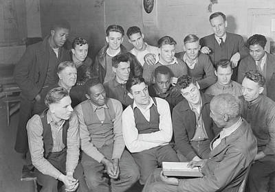 Unemployed Men Attending Meeting Poster