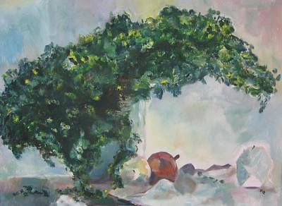 Poster featuring the painting Unfinished Apples by Diane Pape