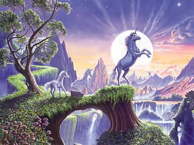 Unicorn Moon Poster by Steve Crisp