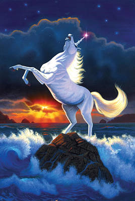 Unicorn Raging Sea Poster by Chris Heitt