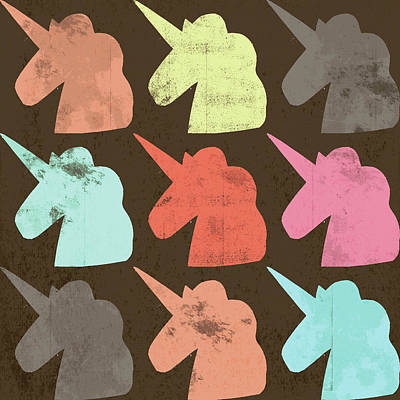 Unicorn Silhouettes I Poster by Lisa Barbero