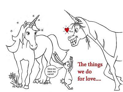 Unicorn Valentines Card Poster