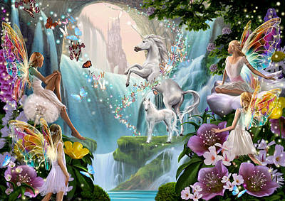 Unicorn And Fairy Waterfall Poster by Garry Walton