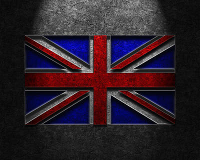 Poster featuring the digital art Union Jack Stone Texture by The Learning Curve Photography
