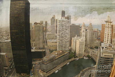 Vintage Unique Downtown Chicago View Digital Art Poster by Linda Matlow