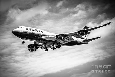 United Airlines Airplane In Black And White Poster
