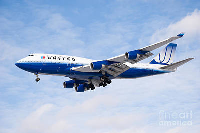 United Airlines Boeing 747 Airplane Landing Poster