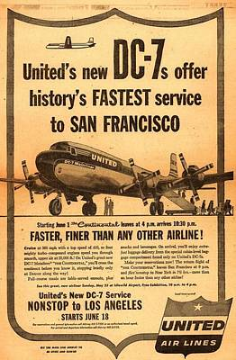 United Dc-7 Contiental Service Poster by John King