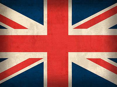 United Kingdom Union Jack England Britain Flag Vintage Distressed Finish Poster