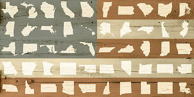 United Shapes Of America Painted Flag Wood Art Poster by Design Turnpike