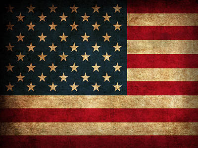 United States American Usa Flag Vintage Distressed Finish On Worn Canvas Poster