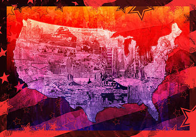 United States Drawing Collage Map 3 Poster by Bekim Art