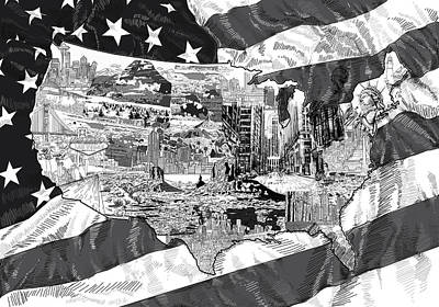 United States Drawing Collage Map 5 Poster