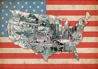 United States Flag Map Poster by Bekim Art