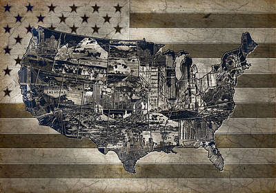 United States Flag Map Vintage 4 Poster