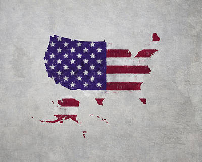 United States Flag Map Poster