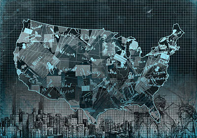 United States Map Collage 5 Poster