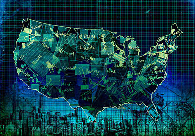 United States Map Collage 6 Poster