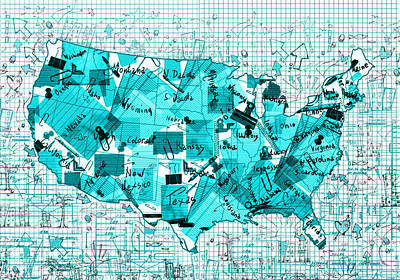 United States Map Collage 8 Poster by Bekim Art