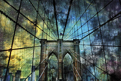 Universe And The Brooklyn Bridge Poster