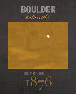 University Of Colorado Boulder Buffalos College Town State Map Poster Series No 031 Poster
