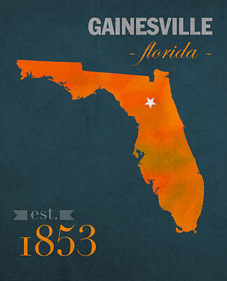 University Of Florida Gators Gainesville College Town Florida State Map Poster Series No 003 Poster