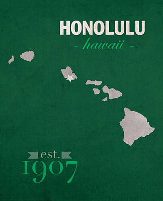 University Of Hawaii Rainbow Warriors Honolulu College Town State Map Poster Series No 044 Poster