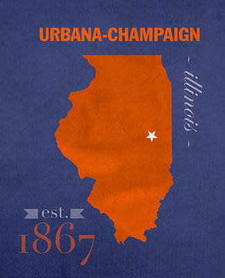 University Of Illinois Fighting Illini Urbana Champaign College Town State Map Poster Series No 047 Poster