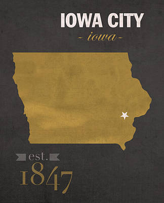 University Of Iowa Hawkeyes Iowa City College Town State Map Poster Series No 049 Poster