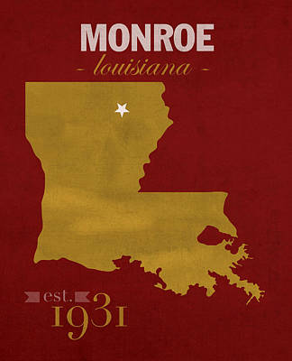 University Of Louisiana Monroe Warhawks College Town State Map Poster Series No 058 Poster