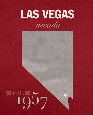 University Of Nevada Las Vegas Rebels Unlv College Town State Map Poster Series No 073 Poster