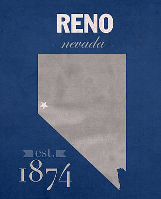 University Of Nevada Reno Wolfpack College Town State Map Poster Series No 072 Poster