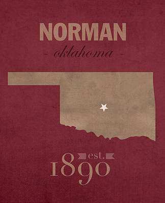 University Of Oklahoma Sooners Norman College Town State Map Poster Series No 083 Poster
