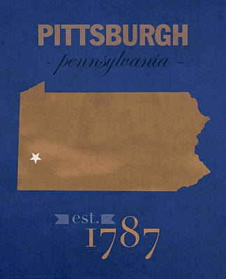 University Of Pittsburgh Pennsylvania Panthers College Town State Map Poster Series No 089 Poster by Design Turnpike