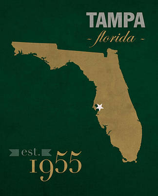 University Of South Florida Bulls Tampa Florida College Town State Map Poster Series No 101 Poster